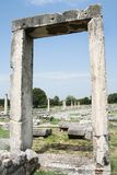 Philippi City Library. These ruins from Ancient Philippi mark the doorway to the library in Philippi. This city was visited by St. Paul as recorded in Acts 16 of royalty free stock photos
