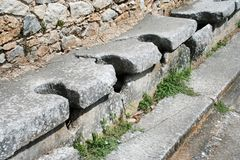 Philippi Toilets. These are the public toilets at the ruins from Ancient Philippi. These toilets date to the 3rd century AD. Philippi was the home of Lydia the stock images