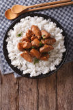 Philippine Adobo chicken with rice vertical view from above Royalty Free Stock Photography