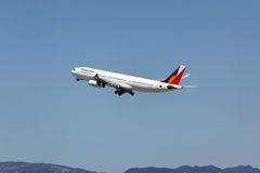 Philippine Airlines Airbus A340-313X. LOS ANGELES, CALIFORNIA, USA - April 17, 2013 - Philippine Airlines Airbus A340-313X takes off from Los Angeles Airport on Stock Photography
