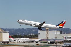 Philippine Airlines A340-313X. LOS ANGELES, CALIFORNIA, USA - April 17, 2013 - Philippine Airlines Stock Image