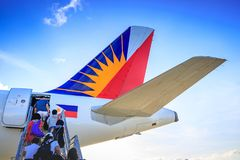 Philippine Airlines PAL at Caticlan airport. On Nov 17, 2017 near Boracay Island in the Philippines Stock Photos