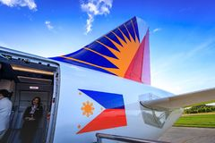 Philippine Airlines PAL at Caticlan airport. On Nov 17, 2017 near Boracay Island in the Philippines Stock Photography