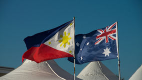 The Philippine and Australian flags. On display during the annual celebration of the Philippine Festival held in the Gold Coast, Australia. Photo taken: June 20 royalty free stock image
