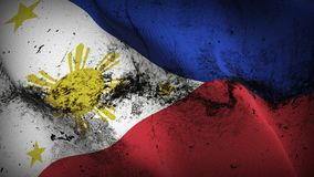 Philippines grunge dirty flag waving on wind. Philippine background fullscreen grease flag blowing on wind. Realistic filth fabric texture on windy day Royalty Free Stock Photography