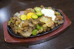 Philippine Cuisine Sisig. A close up view of the Sisig Meal, a Philippine delicacy. Sisig is a Filipino dish made from parts of pig head and liver, usually Stock Photography