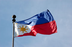Philippine Flag. Full shot of wind blown flag of the Philippines royalty free stock photos