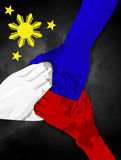 Philippine hands flag unity help. Philippine people helping together graphic stock photo