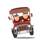 Philippine Jeep Cartoon. Philippine jeep or jeepney is the most popular means of public transportation in the Philippines vector illustration