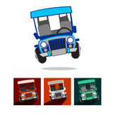 Philippine Jeep. Icon set.  or jeepney is the most popular means of public transportation in the Philippines royalty free illustration