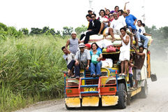 Philippine jeepney. Picture of people enjoying the jeepney ride in the Philippines Stock Photo