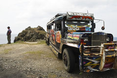 Philippine jeepney. Picture of a jeepney in Batanes Philippines during its regular stop Royalty Free Stock Photos