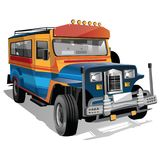 Philippine Jeepney Cartoon. This is a vector illustration of the iconic Philippine Jeepney. Best image to describe Manila and the Philippines in general vector illustration