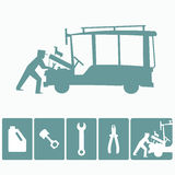 Philippine jeepney mechanic and tools. Local automobile mehanic and tools icon set stock illustration