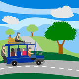 Philippine Jeepney with passengers. Philippine Jeepney loaded with passengers crossing mountain vector illustration