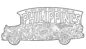Philippine jeepney with tribal ornament. Palm tree, whale shark, mask, turtle, halo-halo. Vector coloring page. Philippines postcard. Polynesian style motif vector illustration