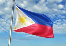 Philippines flag waving with sky on background realistic 3d illustration. Philippine national flag realistic waving blue sky background 3d illustration royalty free stock photography