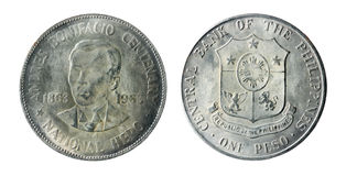 Philippine old coins on the white Royalty Free Stock Photos