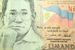 Philippine peso. With begnino aquino who was exiled from the philippines and assassinated stock photo