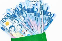 Philippine 1000 peso bill, Philippines money currency, Philippine money bills background royalty free stock image