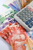Philippine Peso Bills and Calculator Royalty Free Stock Photos