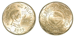 5 Philippine peso coin. Isolated on white background Stock Photos