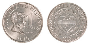 1 Philippine peso coin. Isolated on white background Stock Photos