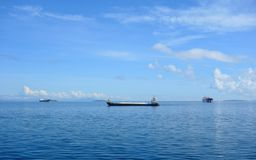 Freight ships. The Philippine Sea with cargo ships Stock Image