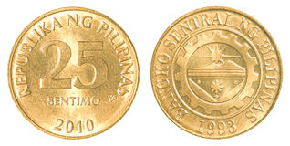 25 Philippine sentimo coin Royalty Free Stock Images