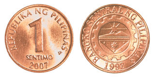 1 Philippine sentimo coin Royalty Free Stock Photo