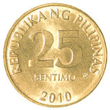25 Philippine sentimo coin. Isolated on white background Stock Photos