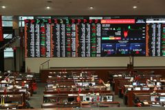 Philippine Stock Exchange. MANILA, PHILIPPINES - DECEMBER 7, 2017: Philippine Stock Exchange trading floor in Makati City, Metro Manila, Philippines. PSE trades Royalty Free Stock Images