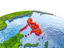 Philippinen auf Modell von Erde Lizenzfreies Stockbild