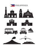 Philippinen-Markstein-Architektur-Bauobjekt-Satz Lizenzfreie Stockfotos
