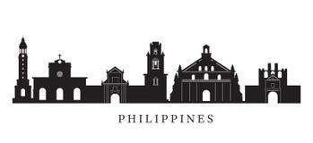 Philippinen-Markstein-Skyline im Schwarzweiss-Schattenbild Lizenzfreie Stockfotografie