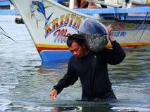 Philippines#7的黄鳍金枪鱼手工渔业 免版税库存照片