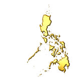 Philippines 3d Golden Map. Isolated in white Royalty Free Stock Photos