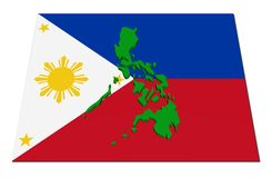 Philippines 3d map on flag Stock Photo