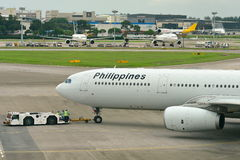 Philippines Airlines Airbus 330 being pushed back at Changi Airport Royalty Free Stock Images