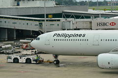 Philippines Airlines Airbus 330 being pushed back at Changi Airport Royalty Free Stock Image