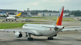 Philippines Airlines Airbus 330 taxiing at Changi Airport Royalty Free Stock Photo