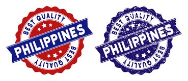 Philippines Best Quality Stamp with Dirty Effect. Philippines stamps with Best Quality title, blue grunge and blue and red clean versions. Vector seal imprint stock illustration