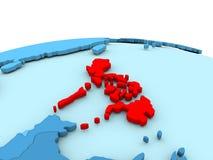 Philippines on blue globe Stock Photo