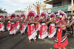 Philippines Bukidnon tribal street dancing Stock Image