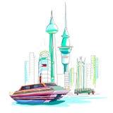 Philippines cityscape background royalty free illustration