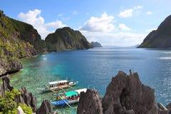 Palawan island hopping. Philippines coast landscape - Mantiloc Island on Palawan island hopping tour Royalty Free Stock Photos