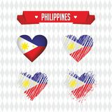 Philippines. Collection of four vector hearts with flag. Heart silhouette. Philippines with love. Graphic design heart with map inside, modern vector design vector illustration