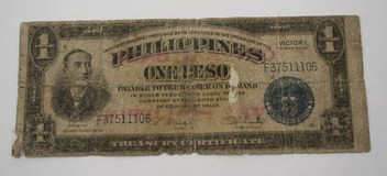 Philippines Currency. Old Philippines currency on a grey background Royalty Free Stock Images