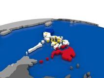 Philippines on 3D globe Royalty Free Stock Photos