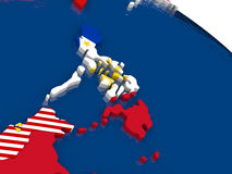 Philippines on 3D map with flags Stock Photography